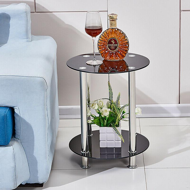 Modern 2 Tier Round Glass Side End Tables Coffee Occasional