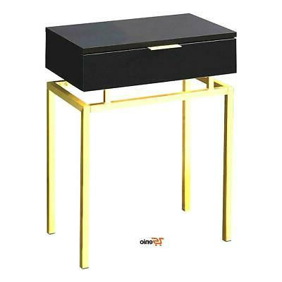 Modern Accent End Table Cappuccino Gold Metal Color - Rsenio