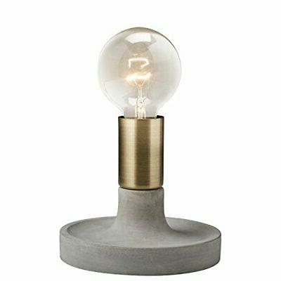 Rivet Modern Exposed Bulb Table Lamp, Cement With Antique Br