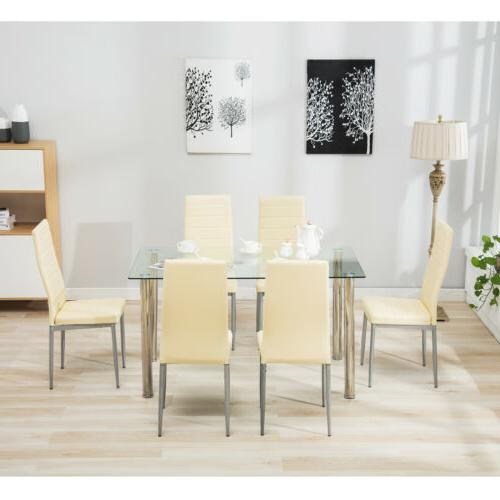 7 Piece Set for Clear Glass Metal Room Breakfast