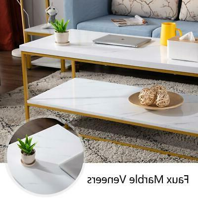 Modern Style Marble Table Living Room Metal Frame White