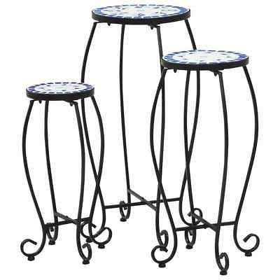 mosaic tables 3 pcs blue and white