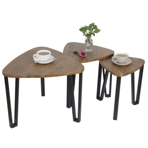 Nesting-Tables Living Table of 3 Stacking End Side