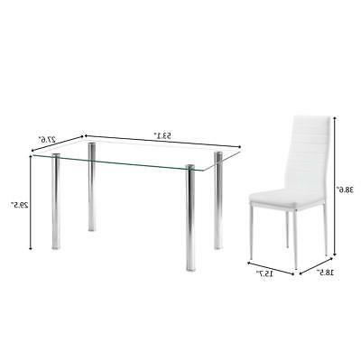 Hot 7 Table Chairs Glass Furniture White