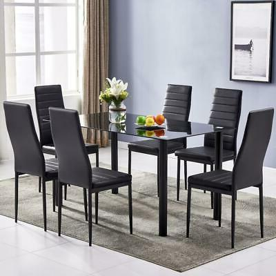 New Style 7 Piece Set 1 Dining Table 6 Kitchen Breakfast Furniture