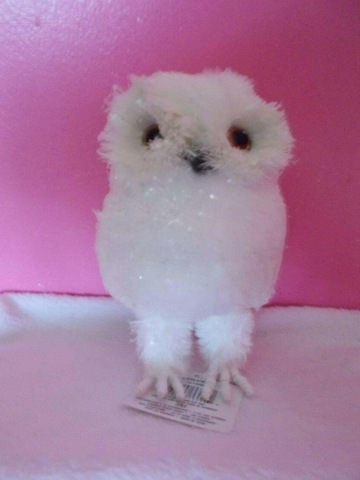 nwt sparkly faux fur white owl standing