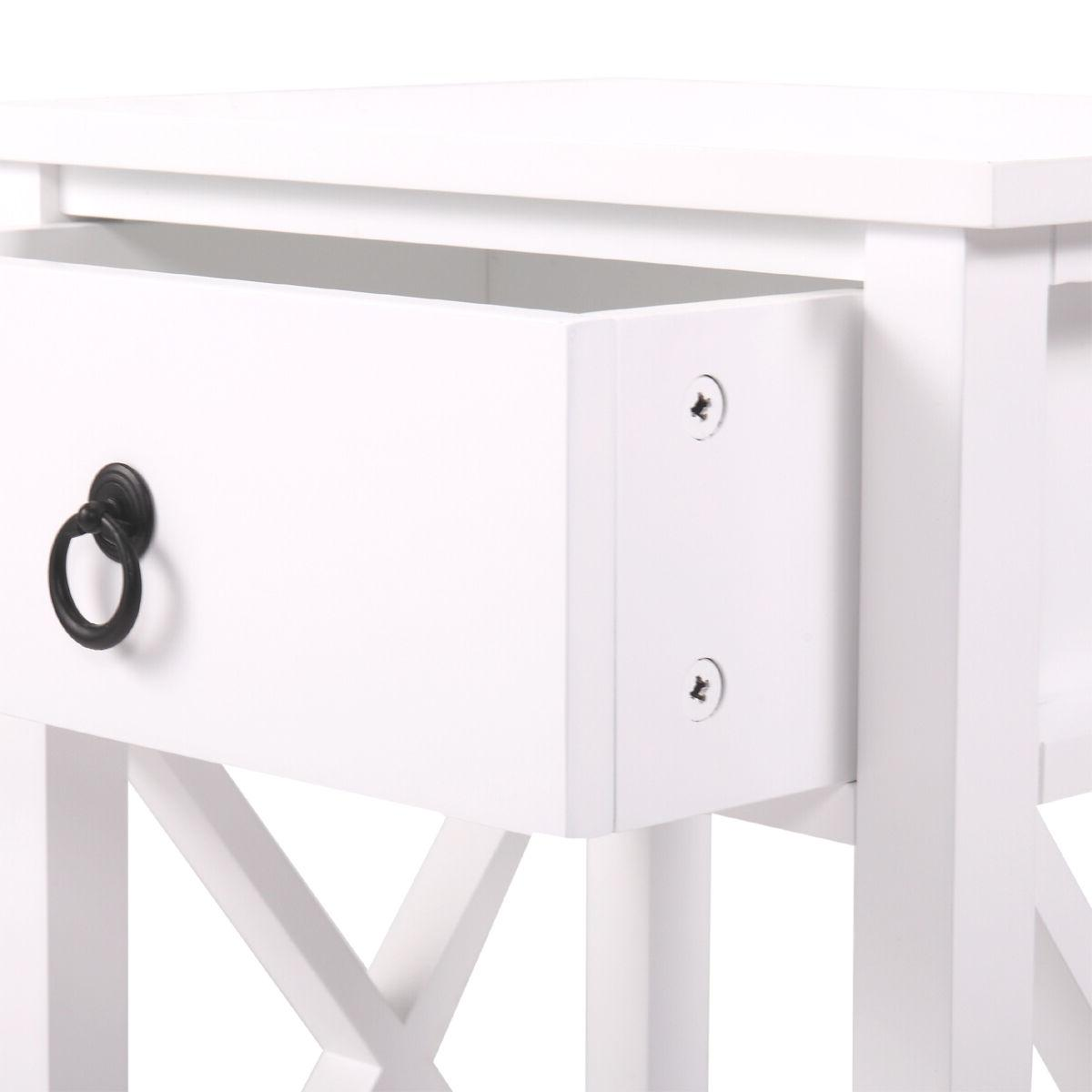 White Bedroom Nightstand End Side Storage Shelf