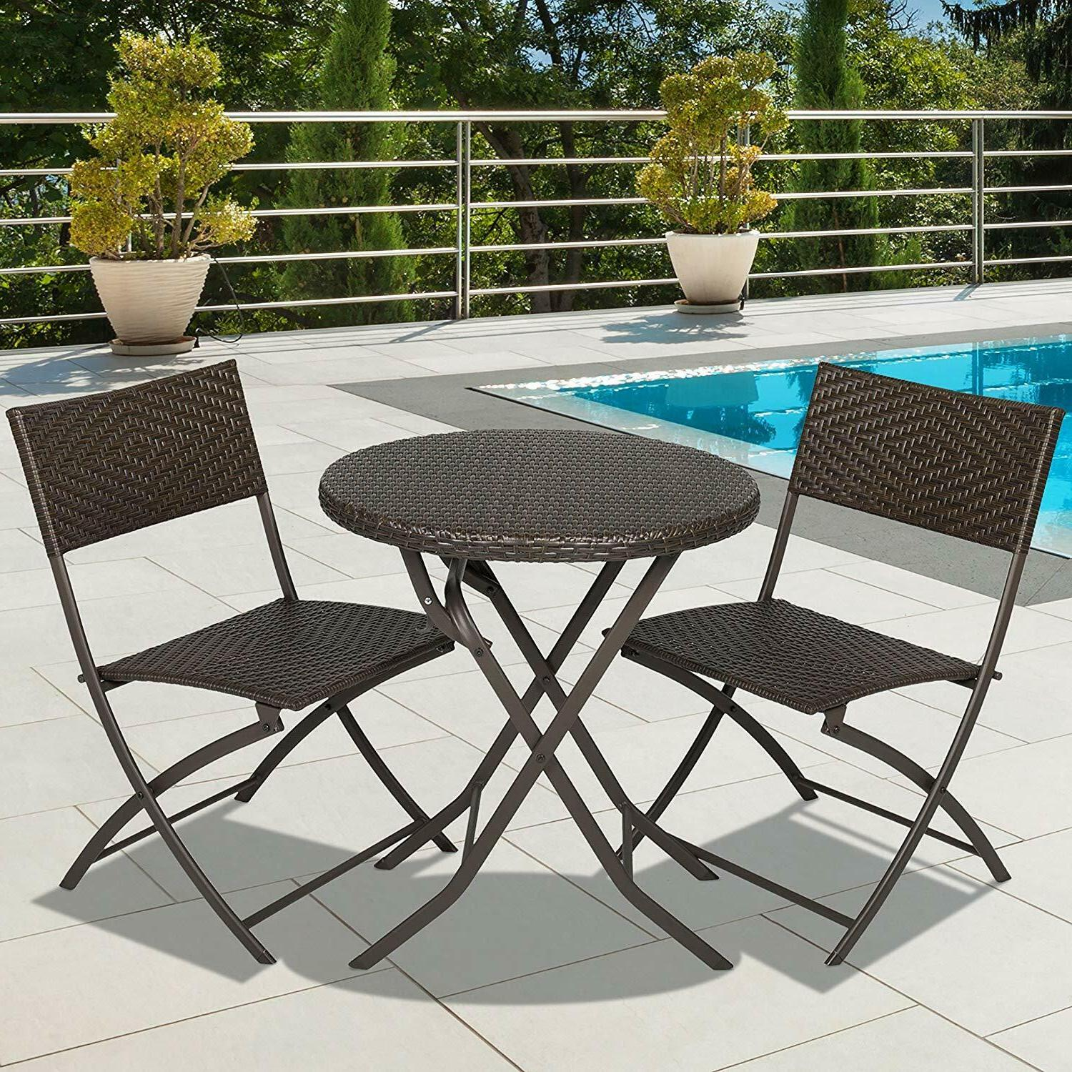 Patio Dining Set Outdoor Garden Furniture Wicker 2 Chairs Ro