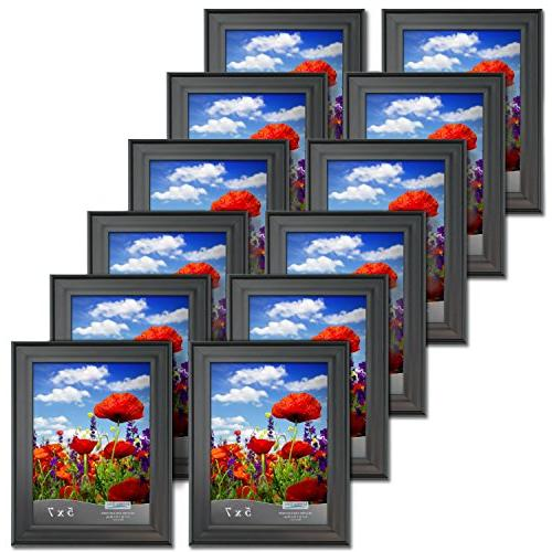 Icona Bay 5x7 Picture Frames Bulk Satin Black, Wall and Display