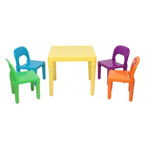 Hot Plastic Suitable For Kids Table And 4 Chairs Set for Boy