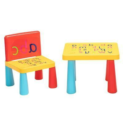 NEW Kid Plastic Table and Chair Set Furniture Activity Toddl
