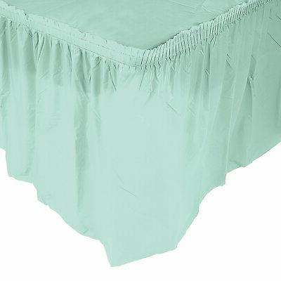 pleated mint green table skirt party supplies