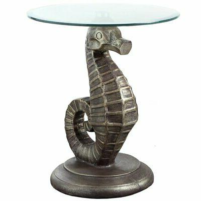 powell satomi seahorse glass top accent table