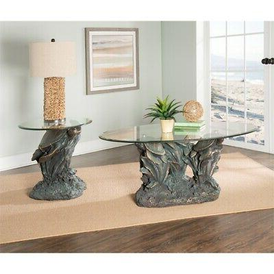 Powell Turtle Glass Top Accent in Rustic