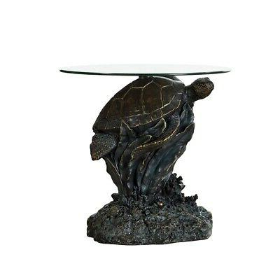 Powell Sheldon Turtle Glass Top Table Rustic