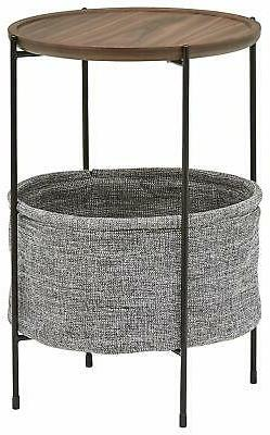 Round Storage Basket Side Table Home Bedroom Family Room Bla