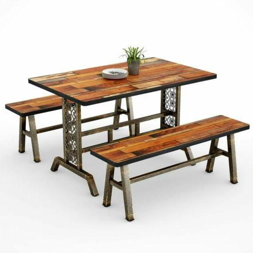 Dining Table with Two Benches 3 Pieces Dining Set Kitchen Ta