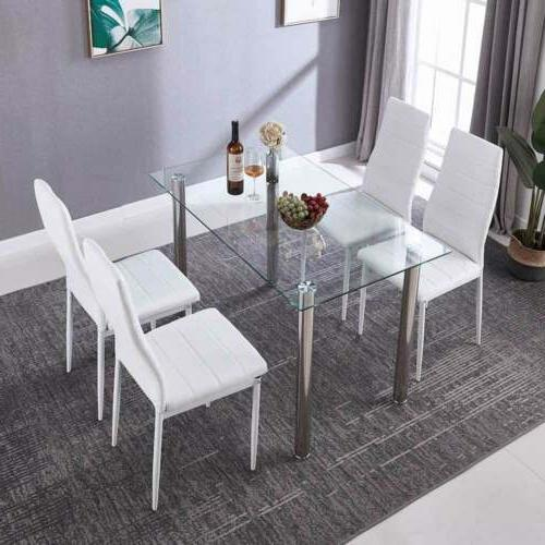 5PC Dining Table Leather Metal Kitchen Furniture