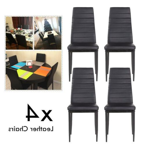 5PC Set Table + Chair Leather Metal Frame Furniture