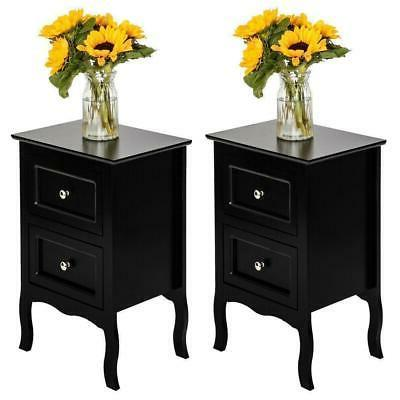 set of 2 nightstand bedside end table