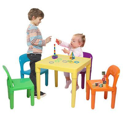 Set of Plastic Table And Chair for Children One Desk And Fou