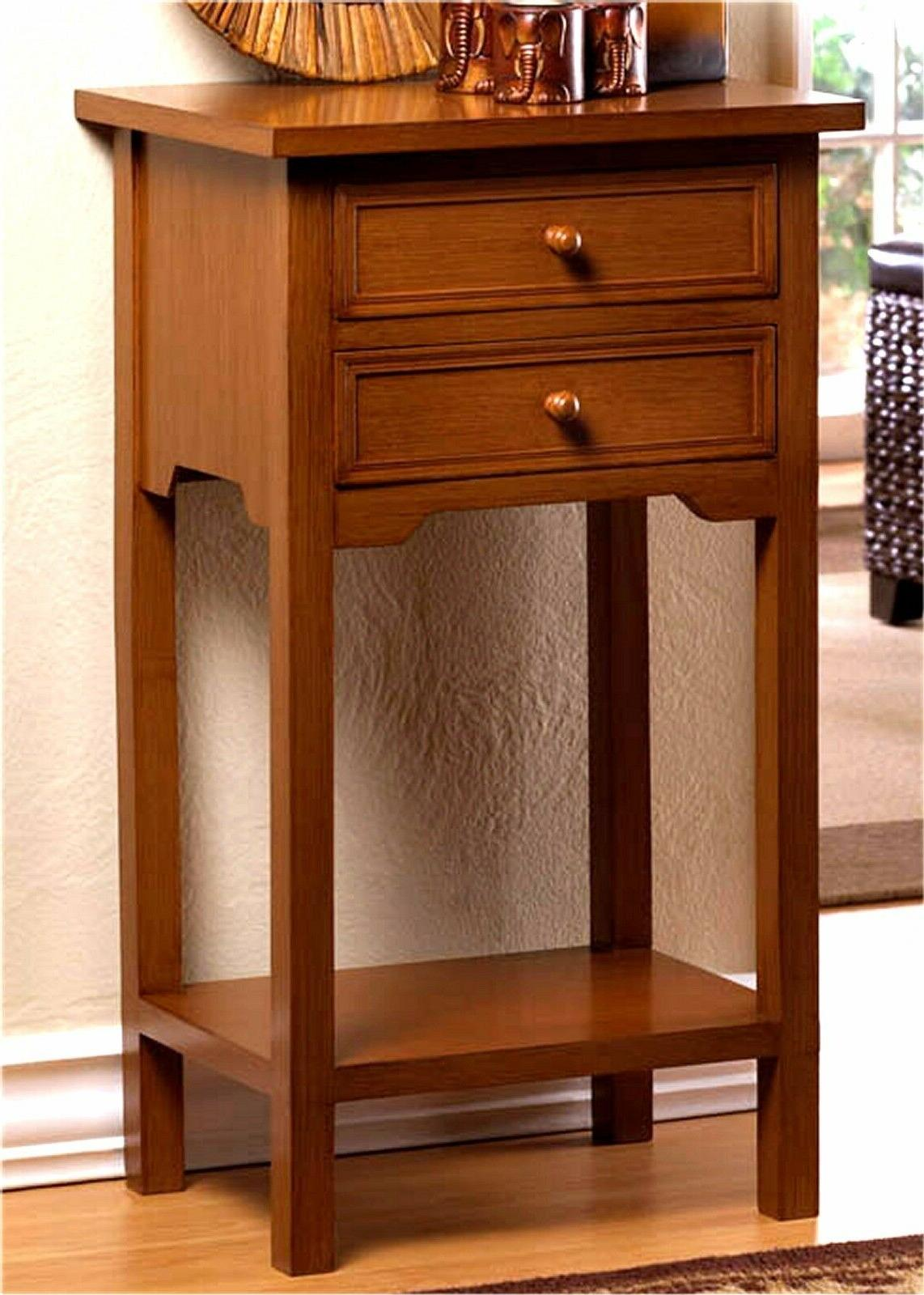 Set of Two NATURAL WOOD NIGHT STAND TABLES DRAWERS SHELF NIB