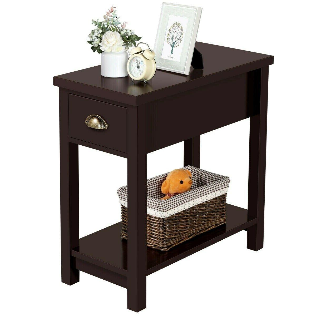 small end table narrow side storage wood