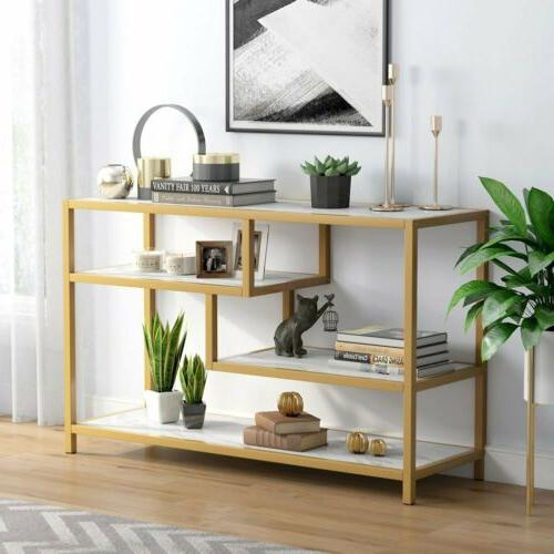 3-Tier Gold Console with Faux
