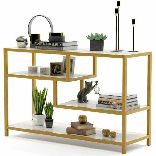 Tribesigns Entry 3-Tier Gold Console Table with