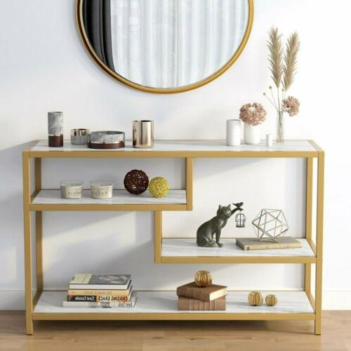 sofa entry table 3 tier gold console