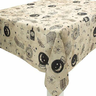 spooks and spells halloween fabric tablecloth washable