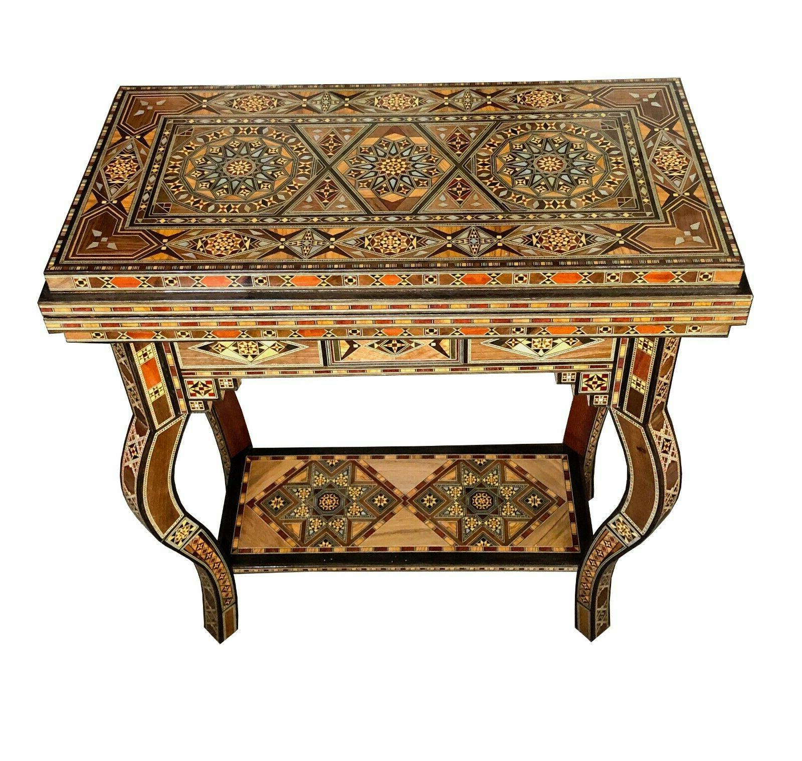 syrian mosaic inlay folding game table