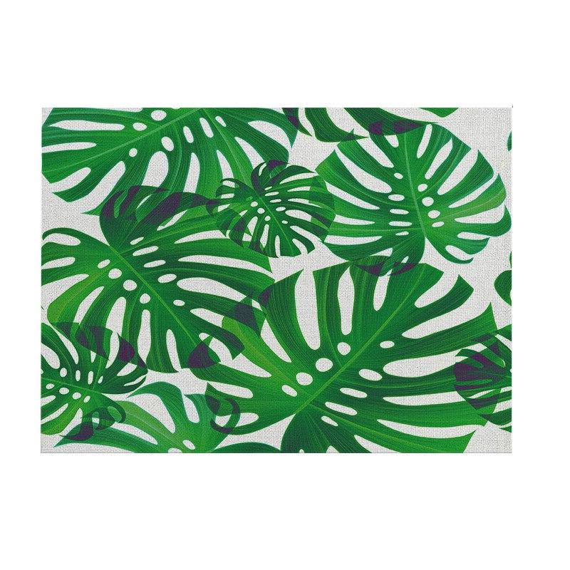 Elife Tropcial Napkins Pattern Green Leaves Linen <font><b>Kitchen</b></font> Coffee Tablecloth