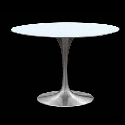 tulip pedestal table with white lacquer top