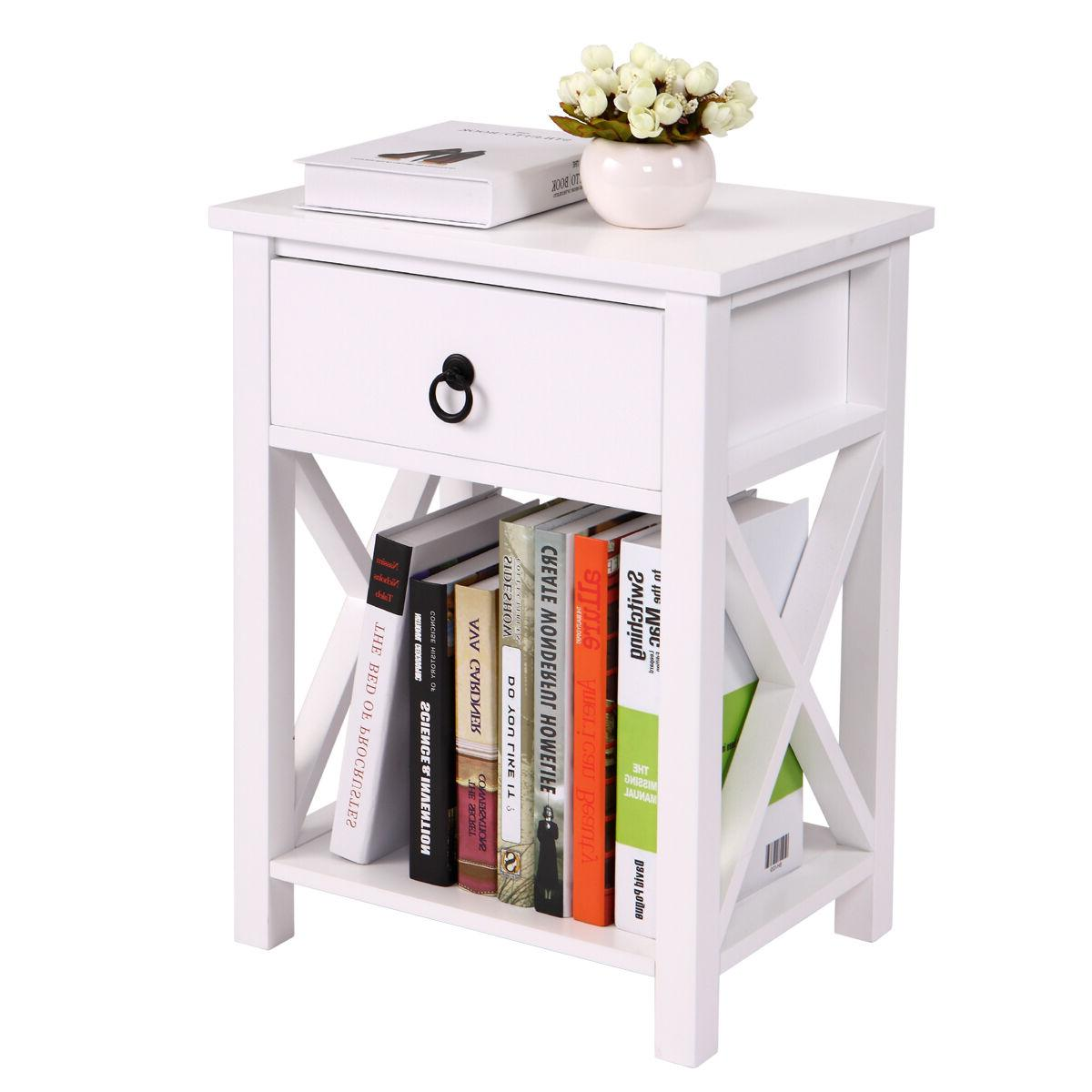 White Nightstand Side Bedside Storage