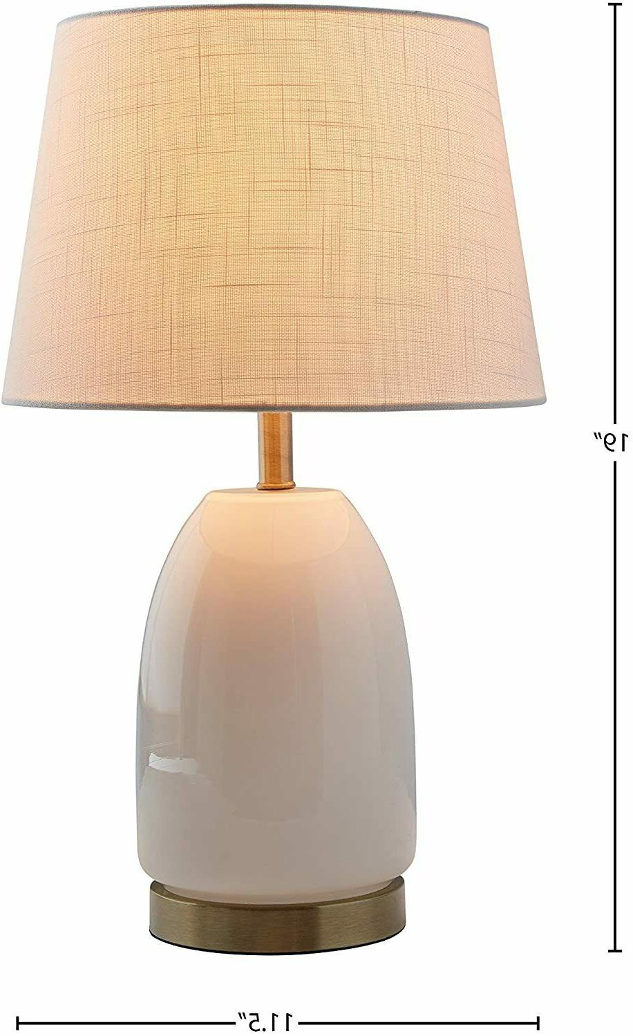 white glass w brass trim table lamp