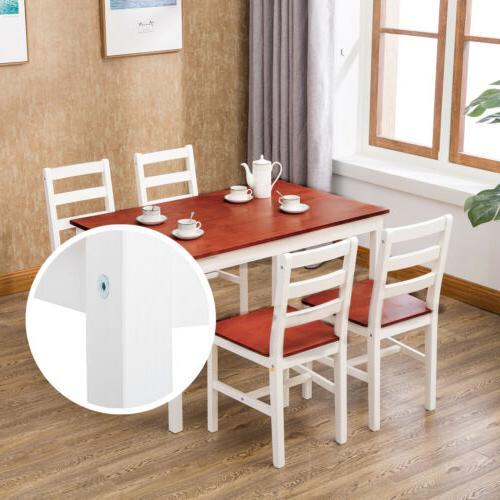 5 Pine Wood Dining 4 Chairs Room Furniture