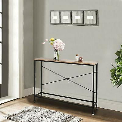 wood console table modern accent shelf stand