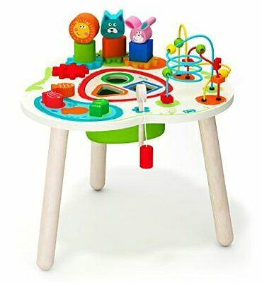 wooden activity table with bead maze cube