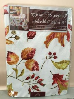 """Leaves of Change Fall Autumn Leaf Tablecloth 60"""" Round Benso"""