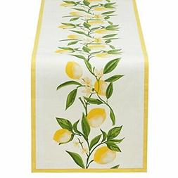 """DII Lemon Bliss Printed Table Runner with Yellow Border, 72"""""""
