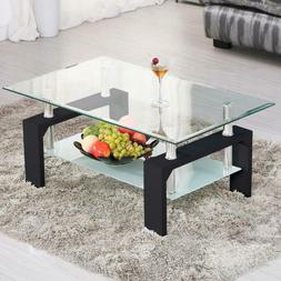 Ktaxon Living Room Furniture-Rectangular Glass Coffee Table