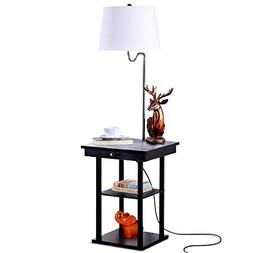 Madison Floor Lamp with Built-in End Table w/ Open Display S