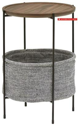 Rivet Meeks Round Storage Basket Side Table, Walnut With Gre