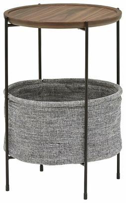 Side Table End Round Storage Basket Rivets Living Room Furni