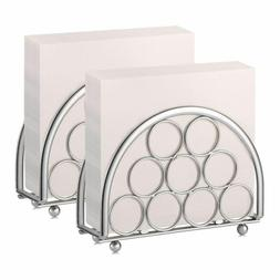 Silver Napkin Holders With Rings Set Of 2 Modern Table Decor