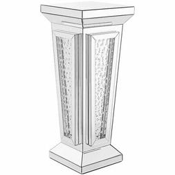 modern 36 clear crystal mirrored accent pedestal