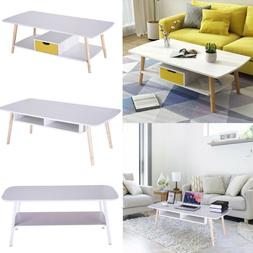 Modern Coffee Table Side End Wood Table With Storage Shelf f
