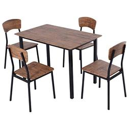 HOMCOM 5 Piece Modern Counter Height Dining Table and Chairs