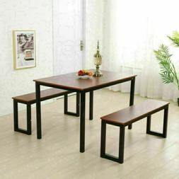 Modern Dining Room Set 2pcs Iron Frame Benches & Table  Kitc